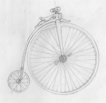 The penny farthing pencil drawing