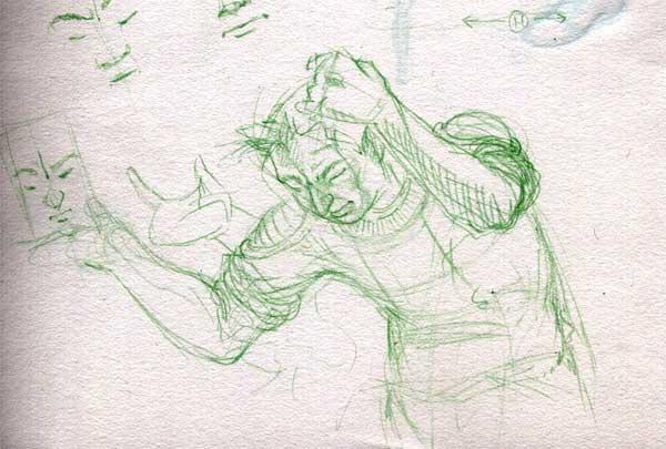 A close up sketch of a perplexed space cadet